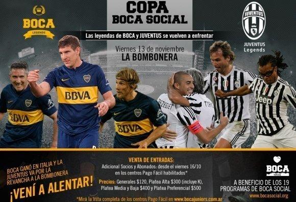 Las viejas estrellas de Boca vs Juventus jugarán en la Bombonera