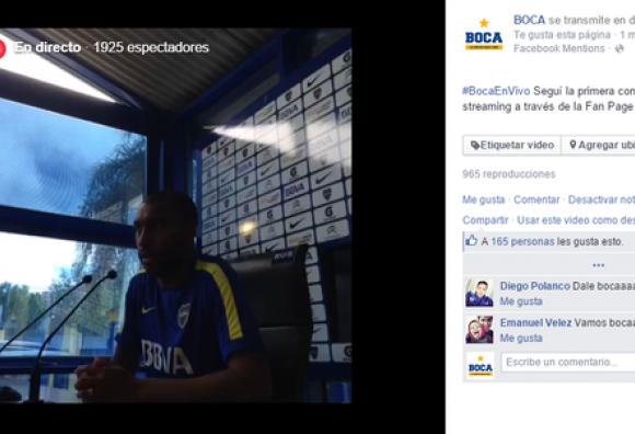 Boca realiza primera transmisión en vivo desde la Fan Page de Facebook del club